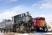 locomotives at railway station of Alamosa, Colorado, USA