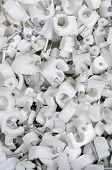 White plastic cable clips