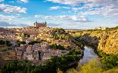 Toledo Cityscape sunset from view point Spain