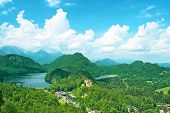 Landscape with castle of Hohenschwangau in Bavaria, Germany.
