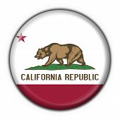 California (usa State) Button Flag Round Shape