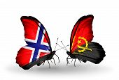 Two Butterflies With Flags On Wings As Symbol Of Relations Norway And  Angola