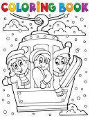 Coloring book cable car theme - eps10 vector illustration.