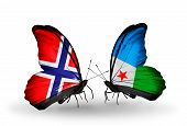 Two Butterflies With Flags On Wings As Symbol Of Relations Norway And Djibouti