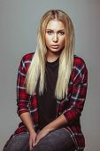 Beautiful Young Blond Woman In Casual Outfit