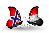 Two Butterflies With Flags On Wings As Symbol Of Relations Norway And Yemen