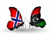 Two Butterflies With Flags On Wings As Symbol Of Relations Norway And Libya