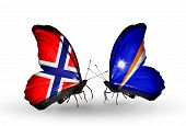 Two Butterflies With Flags On Wings As Symbol Of Relations Norway And Marshall Islands