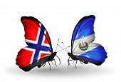 Two Butterflies With Flags On Wings As Symbol Of Relations Norway And  Salvador