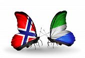 Two Butterflies With Flags On Wings As Symbol Of Relations Norway And Sierra Leone