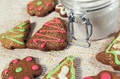 foto of pecan tree  - Various homemade gingerbread on tablecloth ready to eat - JPG