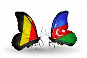 Two Butterflies With Flags On Wings As Symbol Of Relations Belgium And Azerbaijan