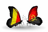 Two Butterflies With Flags On Wings As Symbol Of Relations Belgium And Angola