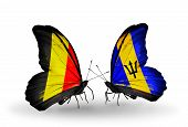 Two Butterflies With Flags On Wings As Symbol Of Relations Belgium And Barbados