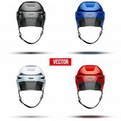 Set of Classic  Ice Hockey Helmets with glass visor. Vector
