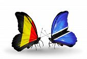 Two Butterflies With Flags On Wings As Symbol Of Relations Belgium And Botswana