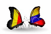 Two Butterflies With Flags On Wings As Symbol Of Relations Belgium And Venezuela