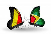Two Butterflies With Flags On Wings As Symbol Of Relations Belgium And Guyana