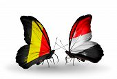 Two Butterflies With Flags On Wings As Symbol Of Relations Belgium And Yemen