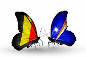Two Butterflies With Flags On Wings As Symbol Of Relations Belgium And Marshall Islands