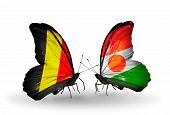 Two Butterflies With Flags On Wings As Symbol Of Relations Belgium And Niger