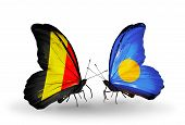 Two Butterflies With Flags On Wings As Symbol Of Relations Belgium And  Palau