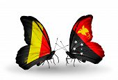 image of papua new guinea  - Two butterflies with flags on wings as symbol of relations Belgium and Papua New Guinea - JPG