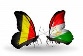 Two Butterflies With Flags On Wings As Symbol Of Relations Belgium And Tajikistan