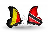 Two Butterflies With Flags On Wings As Symbol Of Relations Belgium And Trinidad And Tobago