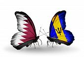 Two Butterflies With Flags On Wings As Symbol Of Relations Qatar And Barbados