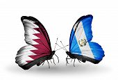 Two Butterflies With Flags On Wings As Symbol Of Relations Qatar And Guatemala