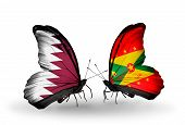 Two Butterflies With Flags On Wings As Symbol Of Relations Qatar And Grenada