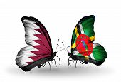 Two Butterflies With Flags On Wings As Symbol Of Relations Qatar And Dominica