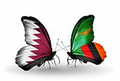 Two Butterflies With Flags On Wings As Symbol Of Relations Qatar And Zambia