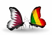 Two Butterflies With Flags On Wings As Symbol Of Relations Qatar And Mali