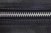 Close - up Metal sliver zip on leather bag