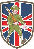 World War One Soldier British Marching Cartoon Shield