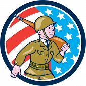 World War Two Soldier American Marching Cartoon Circle