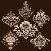 image of damask  - Vector set of damask ornamental elements - JPG
