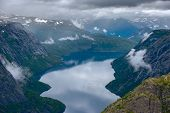 The Summer View Of Trolltunga In Odda, Ringedalsvatnet Lake, Norway