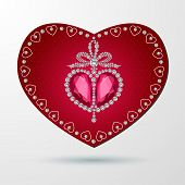 Red heart Valentines day card on white background.
