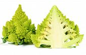 picture of romanesco  - Romanesco broccoli cut in half both sides isolated on white - JPG