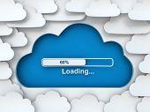 Cloud symbol with loading progress bar