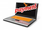 Laptop and payment (clipping path included)