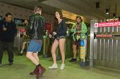 People Without Pants Arriving At The Metro Station In The
