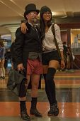Couple Without Pants In The Union Station During The