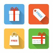 Flat Shopping Gift Icons. Vector Illustration