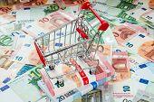 Shopping Cart And Euro Bills