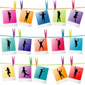 Colorful Photo Frames With Children Silhouettes Hanging On A Rope