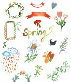 Watercolor design elements for spring - flowers